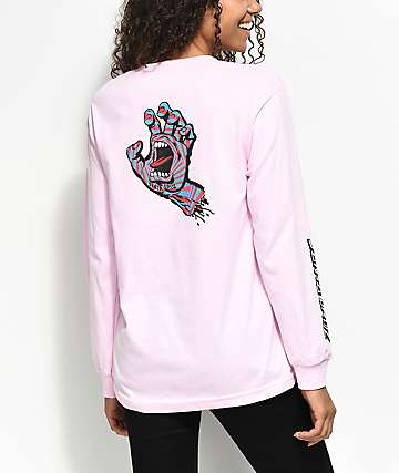 Santa Cruz Screaming Party Hand Light Pink Long Sleeve T-Shirt
