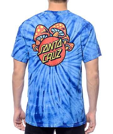Santa Cruz Shroom Dot camiseta azul teñida anudado