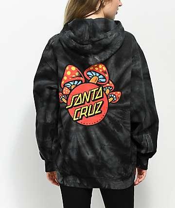 Santa Cruz Shroom Dot sudadera con capucha con efecto tie dye negro