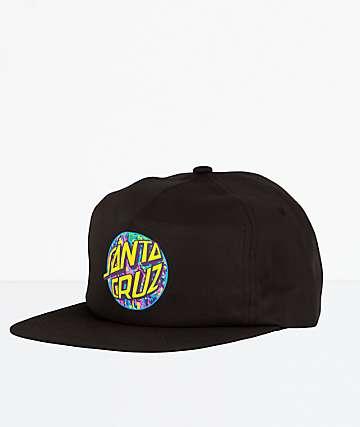 Santa Cruz Spill Dot Black Strapback Hat