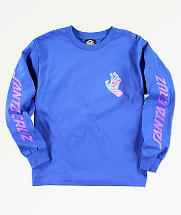 Santa Cruz Spill Hand Blue Long Sleeve T-Shirt