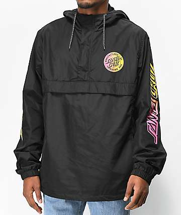 Santa Cruz Strip Fade Black Anorak Windbreaker Jacket
