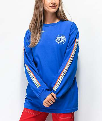 Santa Cruz Stripe Strip Blue Long Sleeve T-Shirt
