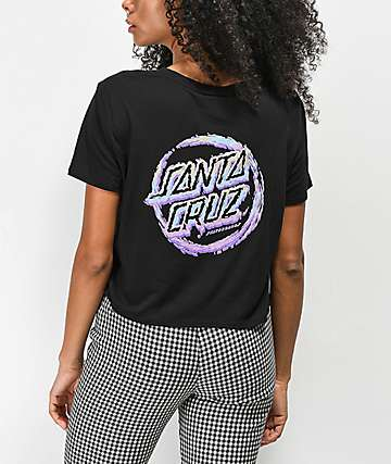 Santa Cruz Throwdown Dot Black Cropped T-Shirt