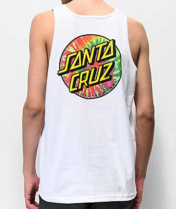 Santa Cruz Tie Dye Dot White Tank Top