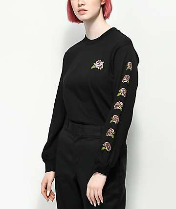 Santa Cruz Victorian Roses Black Long Sleeve T-Shirt