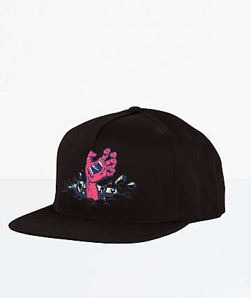 Santa Cruz Wall Hand Black Snapback Hat