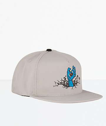 Santa Cruz Wall Hand Grey Snapback Hat
