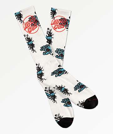 Santa Cruz Wall Hand White Crew Socks