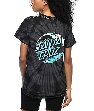 26881c3395e Santa Cruz Wave Dot Black Tie Dye T-Shirt