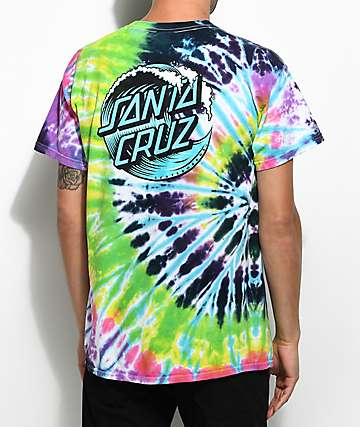 Santa Cruz Wave Dot Flashback Rainbow Tie Dye T-Shirt