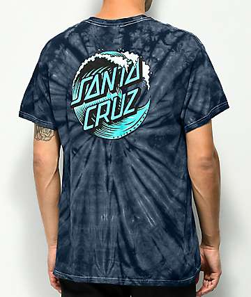 Santa Cruz Wave Dot Navy Tie Dye T-Shirt
