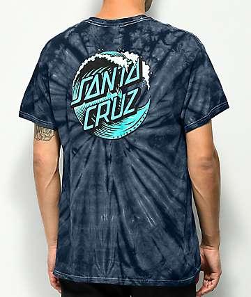Santa Cruz Wave Dot Navy Tie Dye T-Shirt