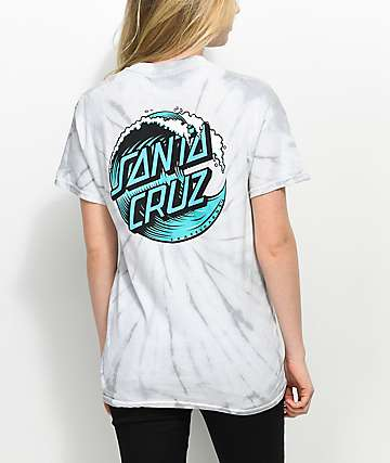 ff3344174 Santa Cruz Wave Dot Spider Silver Tie Dye T-Shirt