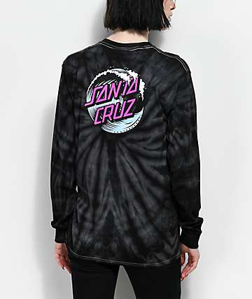 Santa Cruz Wave Dot Spider camiseta negra de manga larga con efecto tie dye