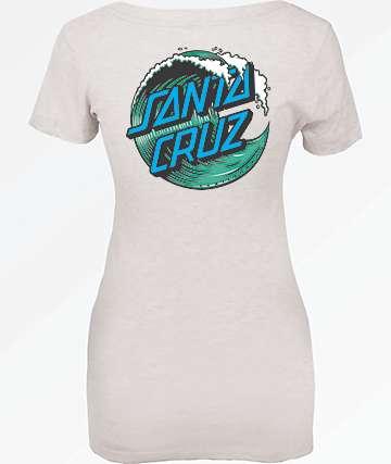 Santa Cruz Wave Dot White V-Neck T-Shirt