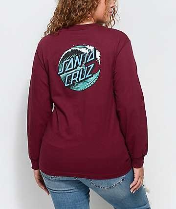 Santa Cruz Wave Dot camiseta de manga larga en color borgoño