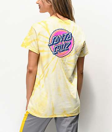 6c9410e8a5e2 Santa Cruz Wiggle Dot Yellow Tie Dye T-Shirt