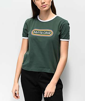 Santa Cruz Woodstock Fern Green Ringer Crop T-Shirt