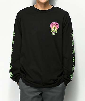 Santa Cruz x Mars Attacks Face Black Long Sleeve T-Shirt