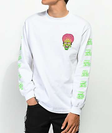 Santa Cruz x Mars Attacks Face White Long Sleeve T-Shirt