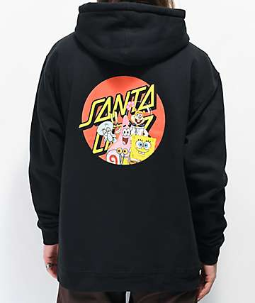 Santa Cruz x SpongeBob SquarePants Group Black Hoodie