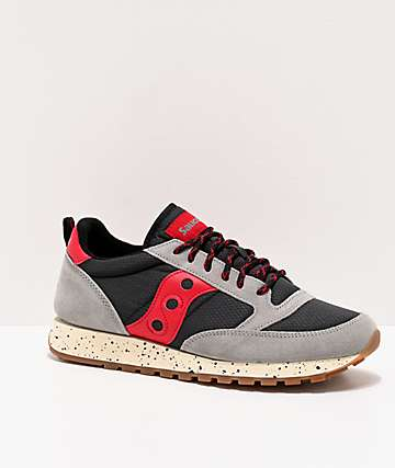 Saucony Jazz Original Climbing Grey, Black & Red Shoes
