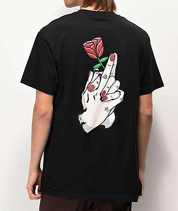 Sausage Finger Rose Black T-Shirt