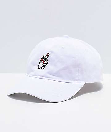Sausage Lady Praying Finger White Strapback Hat