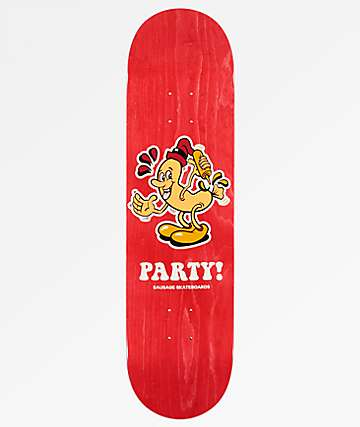 """Sausage Party 8.25"""" Red Skateboard Deck"""