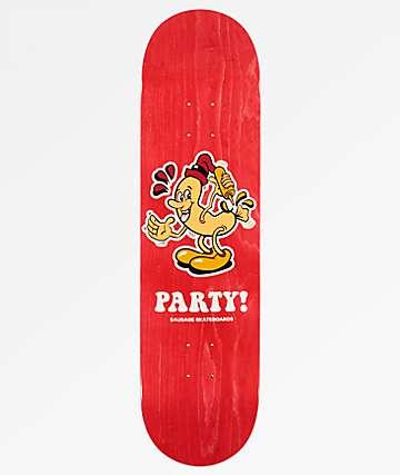 """Sausage Party 8.25"""" tabla de skate en rojo"""
