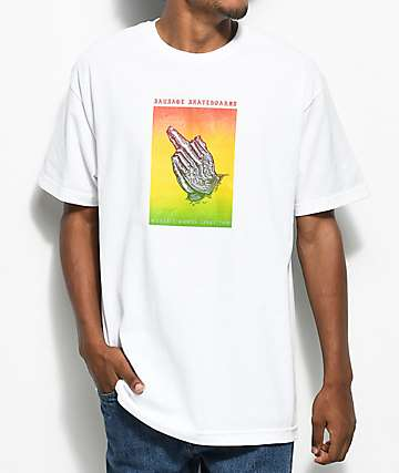 Sausage Praying Finger Box camiseta blanca