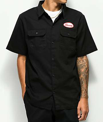 Scum Black Twill Button Up Work Shirt