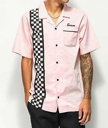 Scum Pink Checkered Short Sleeve Bowling Shirt