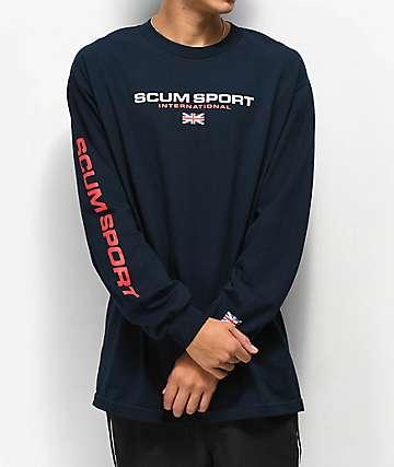 Scum Scum Sport camiseta de manga larga azul marino