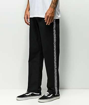 Scum pantalones negros con cinta de cuadros