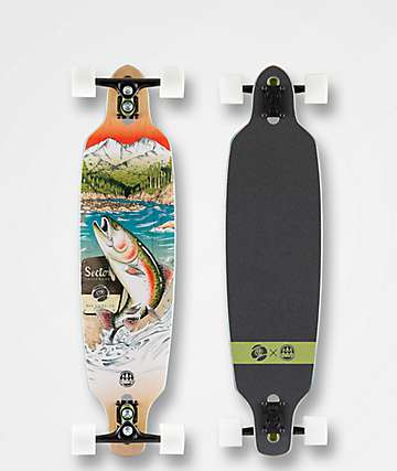 "Sector 9 x Salty Timbers Tackle Fractal 36"" Drop Through Longboard Complete"