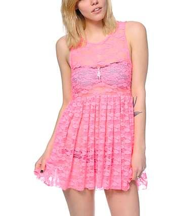 See You Monday Hot Pink Lace Babydoll Dress