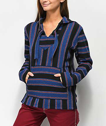 Senor Lopez Blue Stripe Poncho