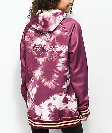 She Shreds Co. Burgundy Tie Dye Tech Fleece Hoodie