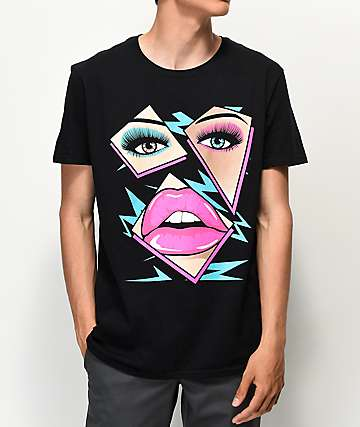 Sheesh World Lips Black T-Shirt