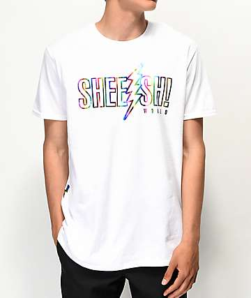 Sheesh World Tie Dye Bolts White T-Shirt