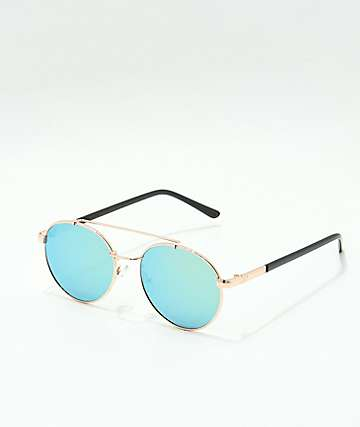 Shiny Gold & Blue Reflective Sunglasses