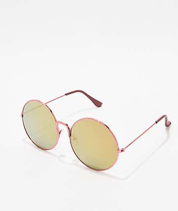 Shiny Rose Pink Round Sunglasses