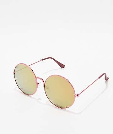 Shiny Rose Pink Round Sunglasses