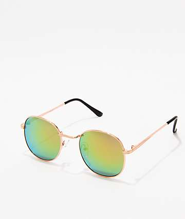 Shiny Round Gold Mirror Sunglasses