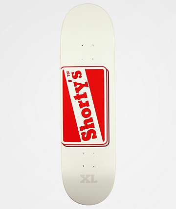 "Shorty's OG Logo 8.5"" tabla de skate blanca y roja"
