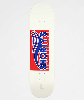 "Shorty's Skate Tab 8.25"" tabla de skate roja y azul"