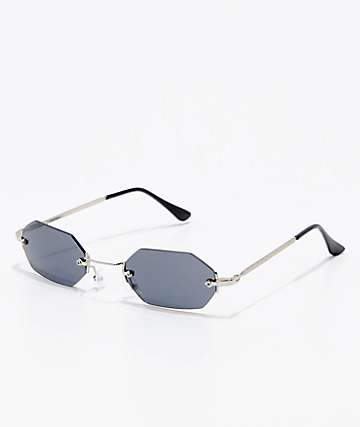 Silver & Black Mini Oval Rectangle Sunglasses