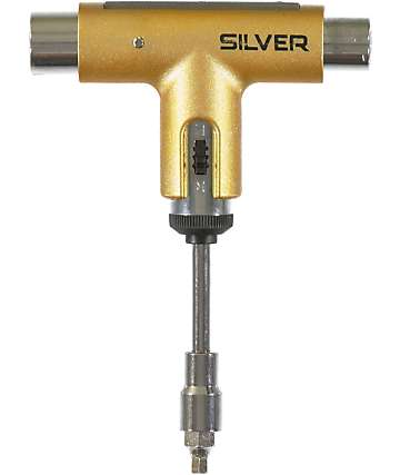 Silver Trucks Gold Colored Skateboard Tool
